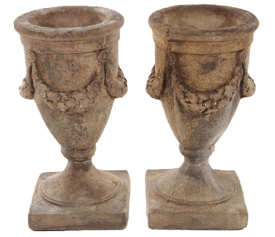 Pair of Cast Stone Garden Urns by Wolfs Gallery | Bidsquare