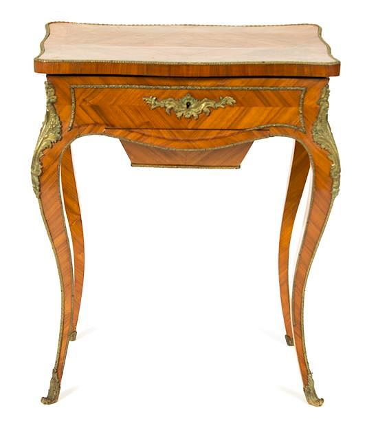 A Louis Xv Style Gilt Metal Mounted Dressing Table Height 29 X Width