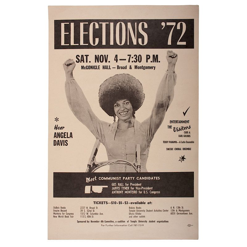 Angela Davis Black Panther Poster Philadelphia 1972 By Cowan S