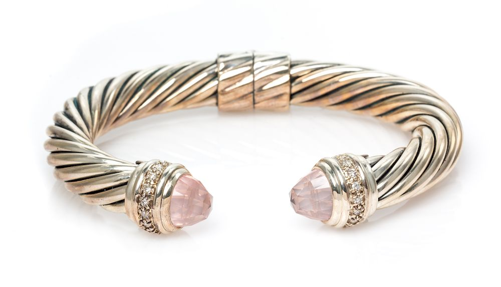 5fa566220c55c A Sterling Silver, Rose Quartz and Diamond 'Cable Classic' Bracelet ...