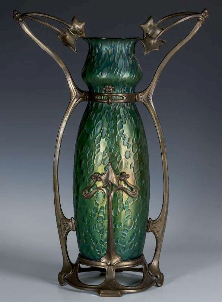 Loetz Vase In Patinated Mounts Style Of Gurschner By Soulis