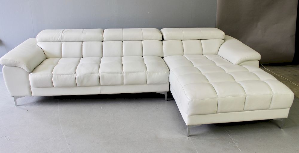 Mid Century Modern White Leather Sofa By A 1 Auction Llc 1103787