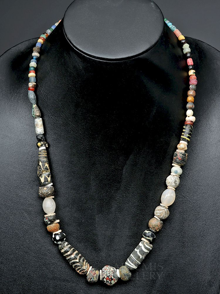 Ancient Roman Glass, Ceramic, & Stone Bead Necklace by