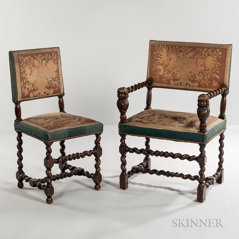 Set Of Eight Jacobean Style Tapestry Upholstered Dining Chairs By