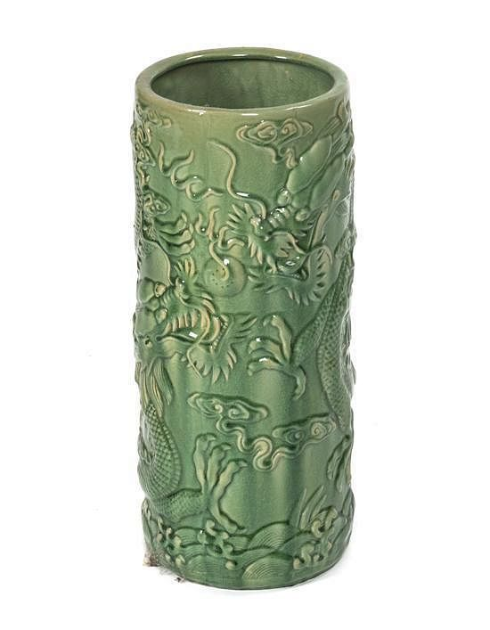 A Chinese Export Pottery Umbrella Stand Height 21 34 Inches By