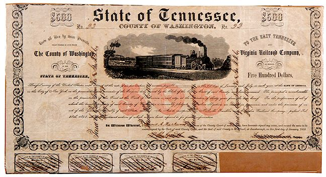 TENNESSEE RAILROAD BONDS by Kimball Sterling - 1111343