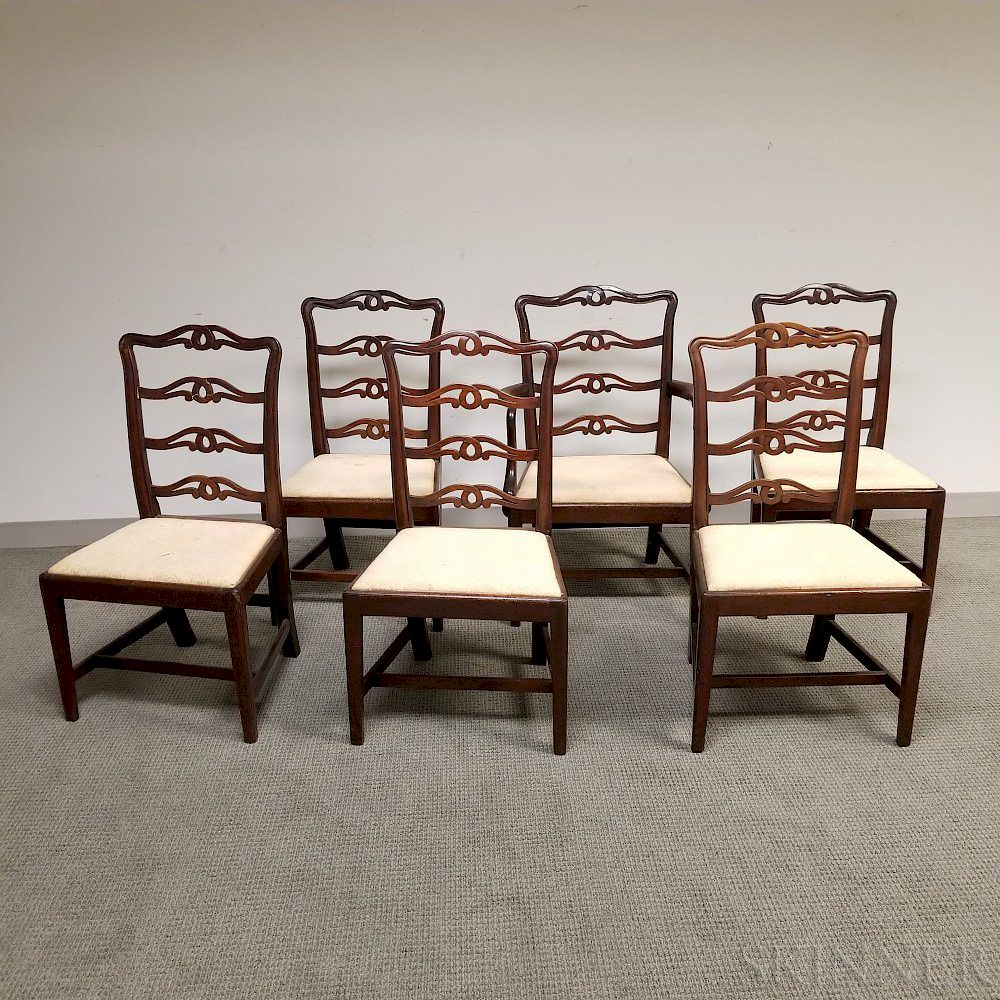 Awe Inspiring Six Chippendale Carved Mahogany Ribbon Back Dining Chairs By Short Links Chair Design For Home Short Linksinfo