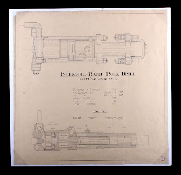 1931 Ingersoll-Rand Rock Drill Schematic Drawing by North ... on