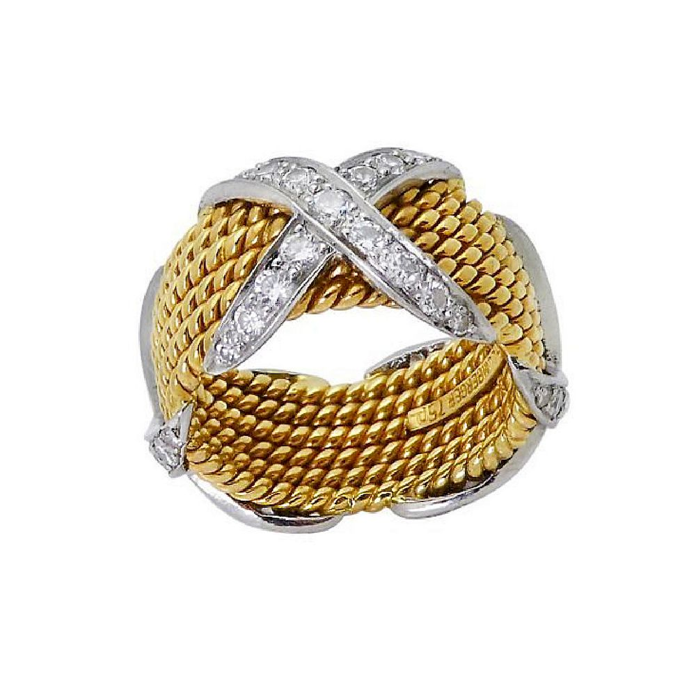 0d34b91546bc9 Tiffany & Co Schlumberger X Diamond 6 Row Rope 18k Ring by Allure ...