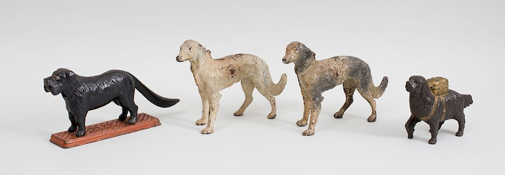 Two American Painted Cast Iron Borzoi Form Door Stops A Cast Iron
