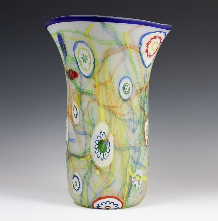 Signed Paolo Pinzan Affani Italian Murano Vase 15 By Hill Auction