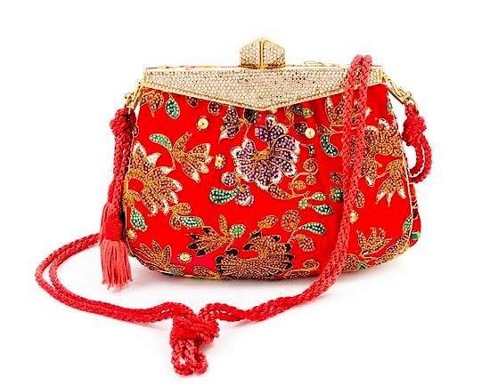 ef7b317f78 A Judith Leiber Red Satin Crystal Embroidered Evening Bag, 7