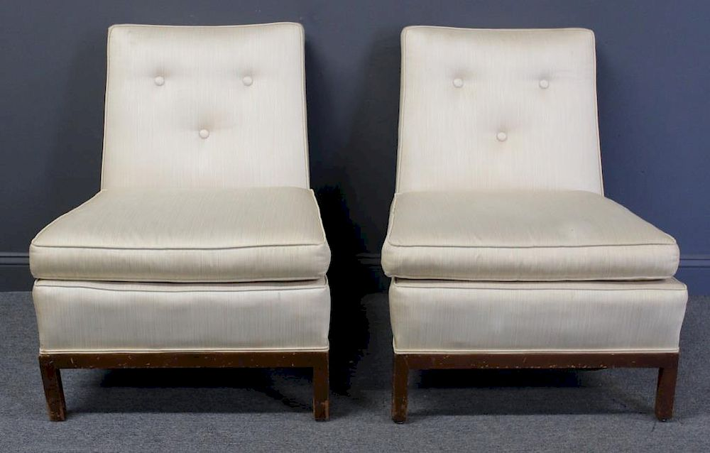 MIDCENTURY. Pair Of Upholstered Slipper Chairs. By Clarke Auction |  Bidsquare