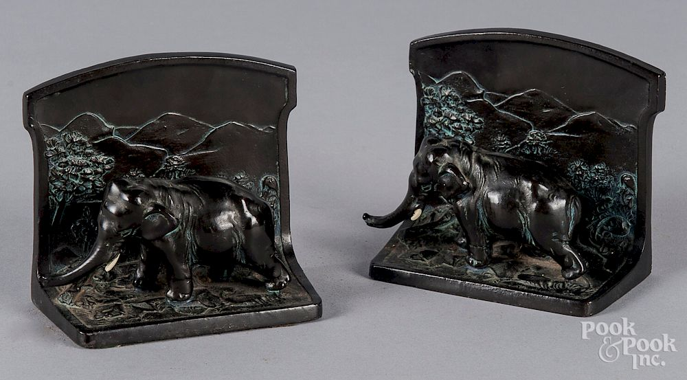 Pair of L  V  Aronson bronze elephant bookends by Pook