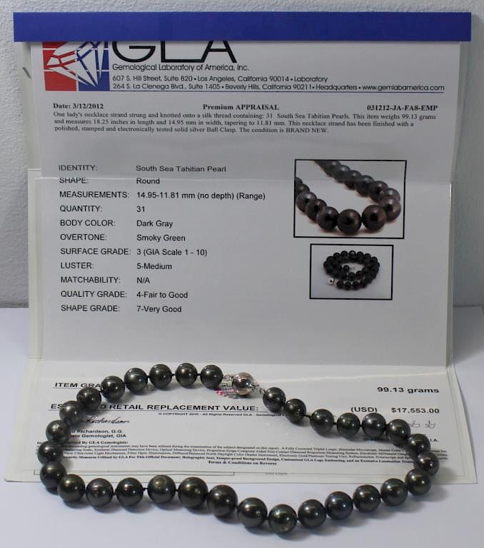 52cb615dffb1c JEWELRY. GLA Certified Tahitian Pearl Necklace. by Clarke Auction ...