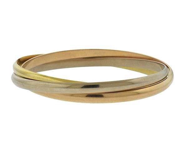 b35a591782ff5 Cartier Trinity 18K Tri Color Gold Bangle Bracelet by Hampton Estate ...