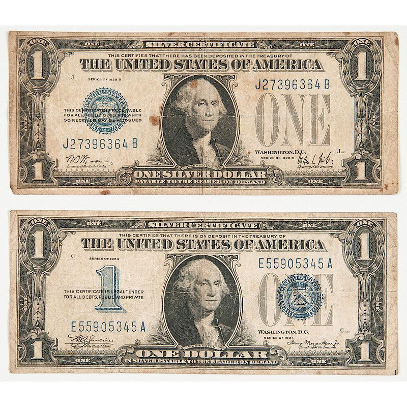 United States One Dollar Silver Certificates 1928 B 1934 By Cowans