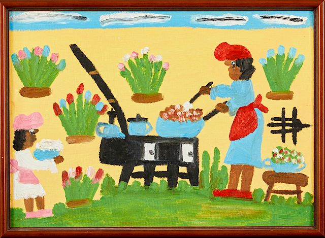 Clementine Hunter 1887 1988 Cooking Outside C 1980 Oil On Board Signed Right Center Verso With A Polaroid Of The Artist Holding This Paintin