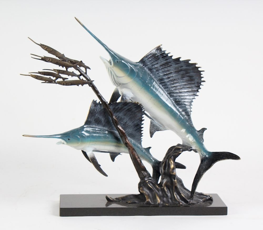 American Bronze Sailfish & Ballyhoo Fish Sculpture by Hill