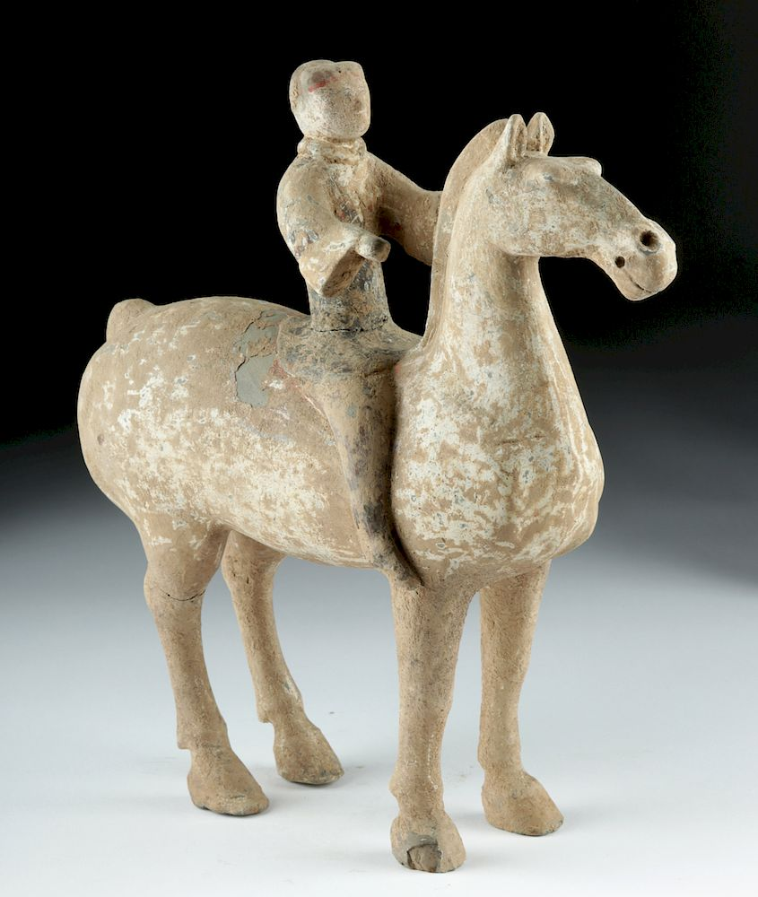 Chinese Han Dynasty Pottery Horse and Rider by Artemis