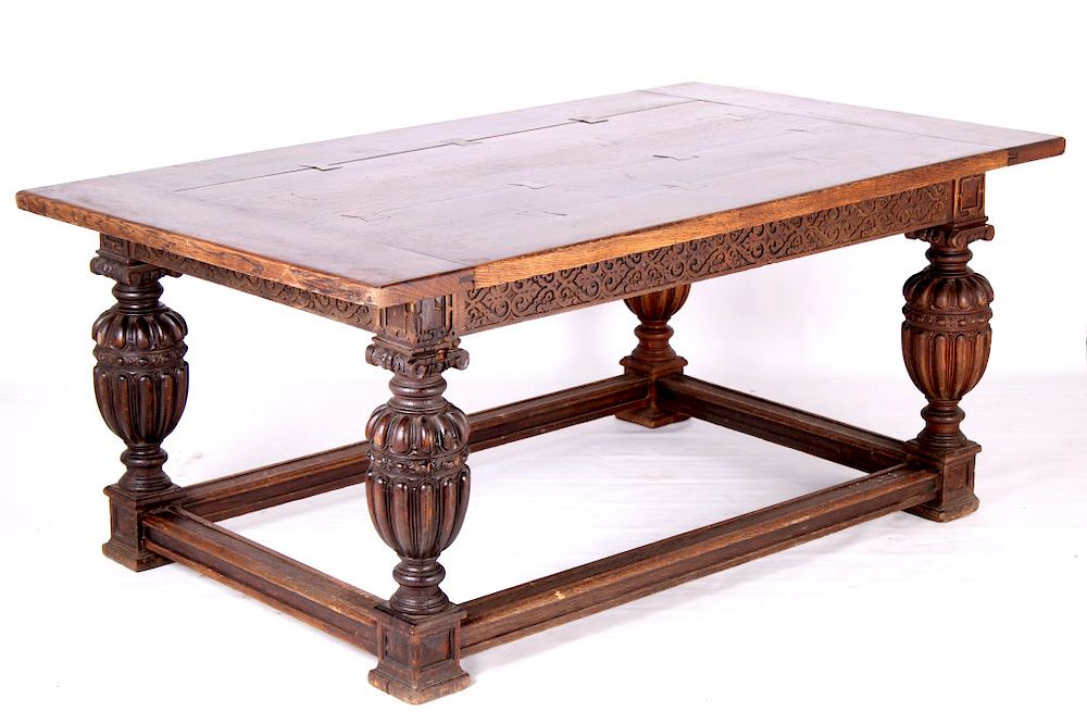 Early Jacobean Style 19th C Oak Table By North American