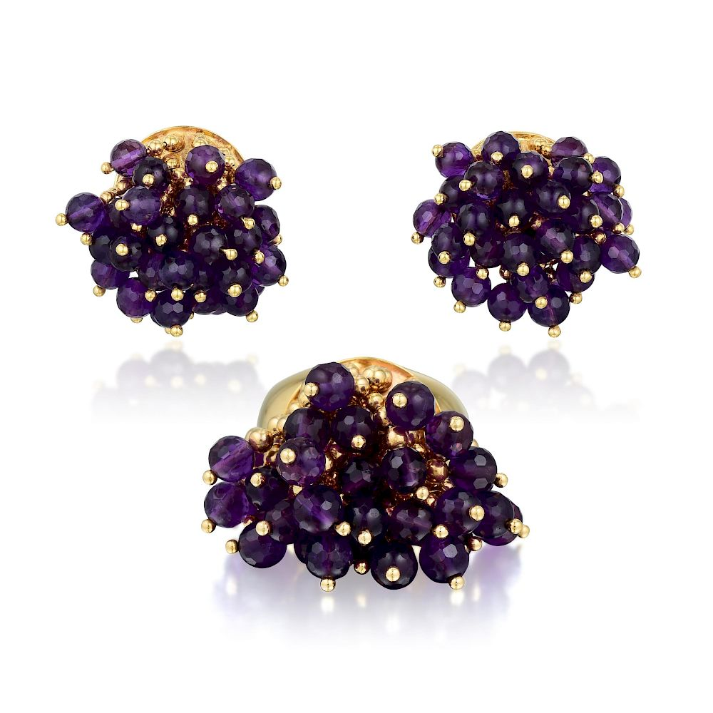 A 14k Gold Amethyst Bead Tel Earrings And Ring Italian By Fortuna Auction Bidsquare