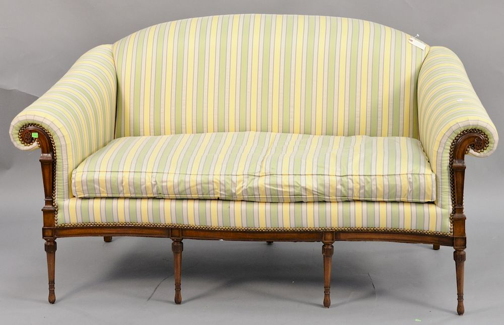 E J Victor Pair Of Mahogany Upholstered Loveseats One With Sun Fading On Back And Small Tears Ht 39 In Wd 57 By Nadeau S Auction Gallery