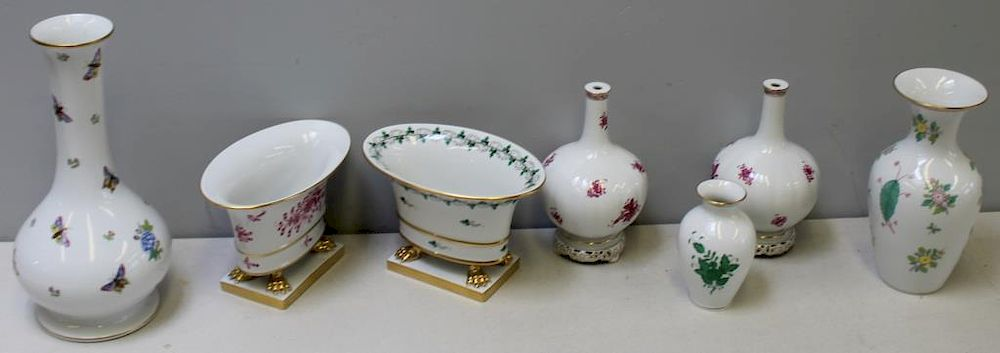 Herend Grouping Of Porcelain Vases By Clarke Auction Bidsquare