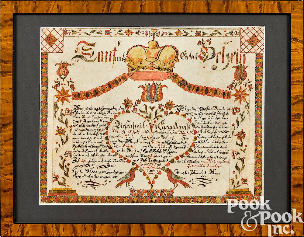 Attributed to Anthony Rehm birth certificate by Pook & Pook