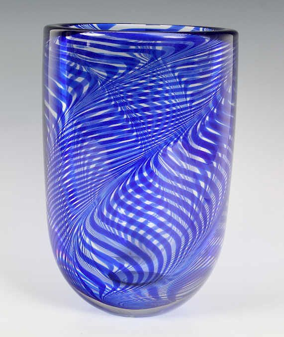Swedish Contemporary Studio Art Glass Bowl Vase By Hill Auction
