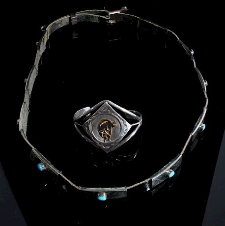 Kokopelli Sterling Bracelet and Turquoise Hat Band by North