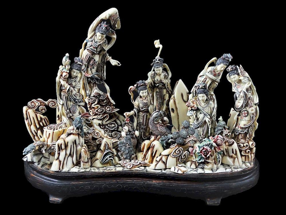 Chinese Carved Bone Geisha Village Sculpture By Joshua Kodner 1192022 Bidsquare