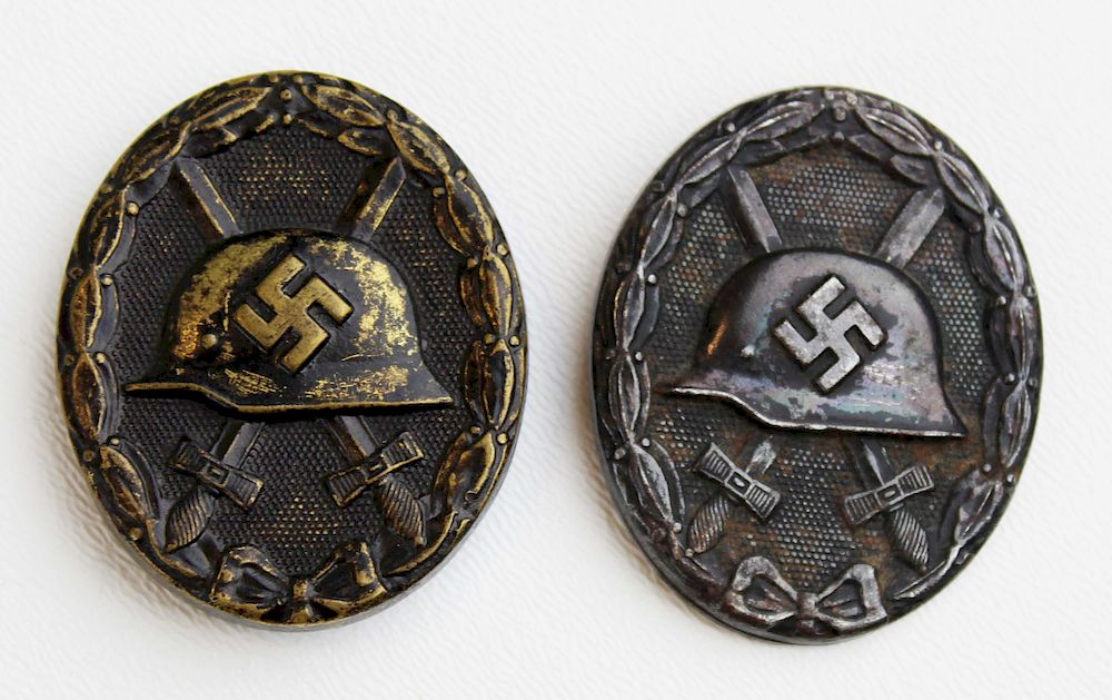 two WWII German Black Wound badges by Duane Merrill and Co
