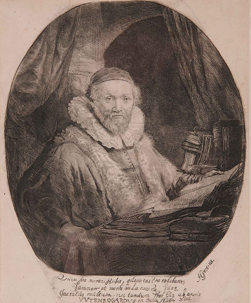 REMBRANDT VAN RIJN, (Dutch, 1606-1699), Jan Uytenbogaert, Preacher of the  Remonstrants by Grogan & Company | Bidsquare