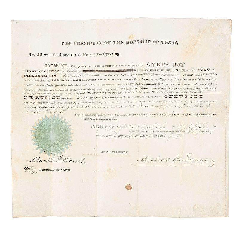 Republic Of Texas Archive Including Mirabeau B Lamar And David G