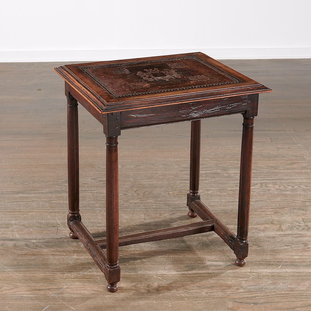 Henry Ii Table With Antique Leather Top By Millea Bros Ltd