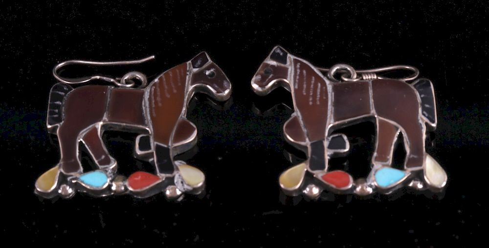 Navajo Multi Stone Sterling Silver Horse Earrings By North American Auction Company Bidsquare