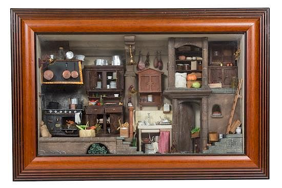 Miniature Children S Bedroom Room Box Diorama: An Italian Shadow Box Framed Miniature Kitchen Height Of