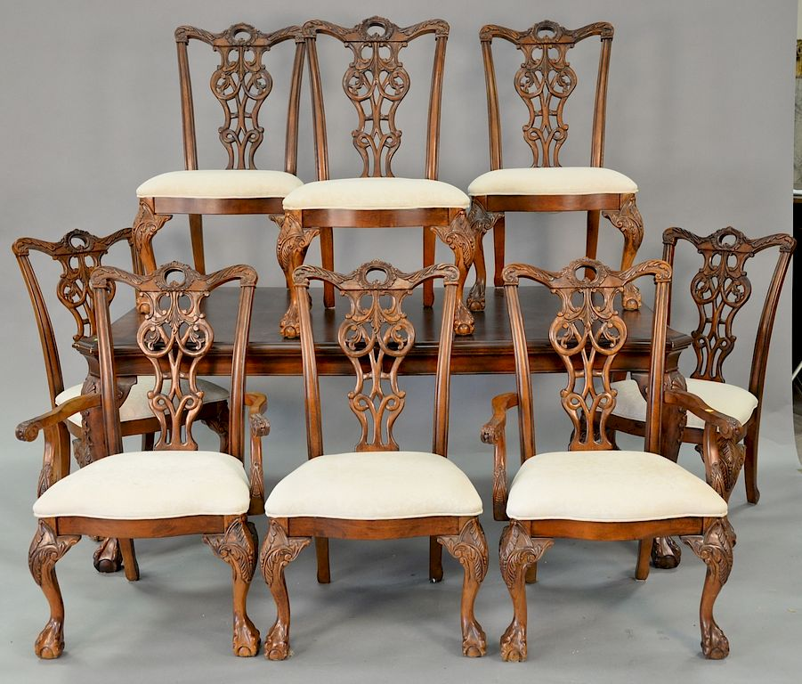 Nine Piece Mahogany Dining Room Set Including Table With Two 18 Inch