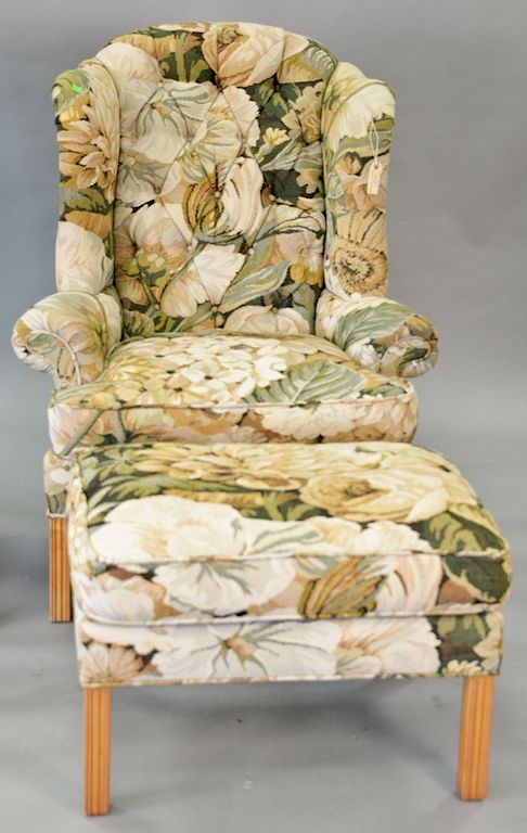 Brilliant Kravet Furniture Wing Chair And Ottoman With Tapestry Type Machost Co Dining Chair Design Ideas Machostcouk