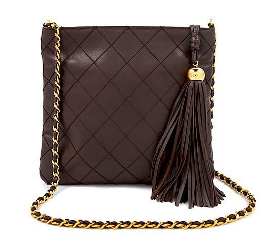 e9aadf62c5bf A Chanel Dark Brown Quilted Cross Body Bag, 7.5