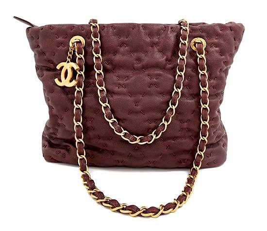 A Chanel Burgundy Caviar Quilted Wild Stitch Tote, 10.5