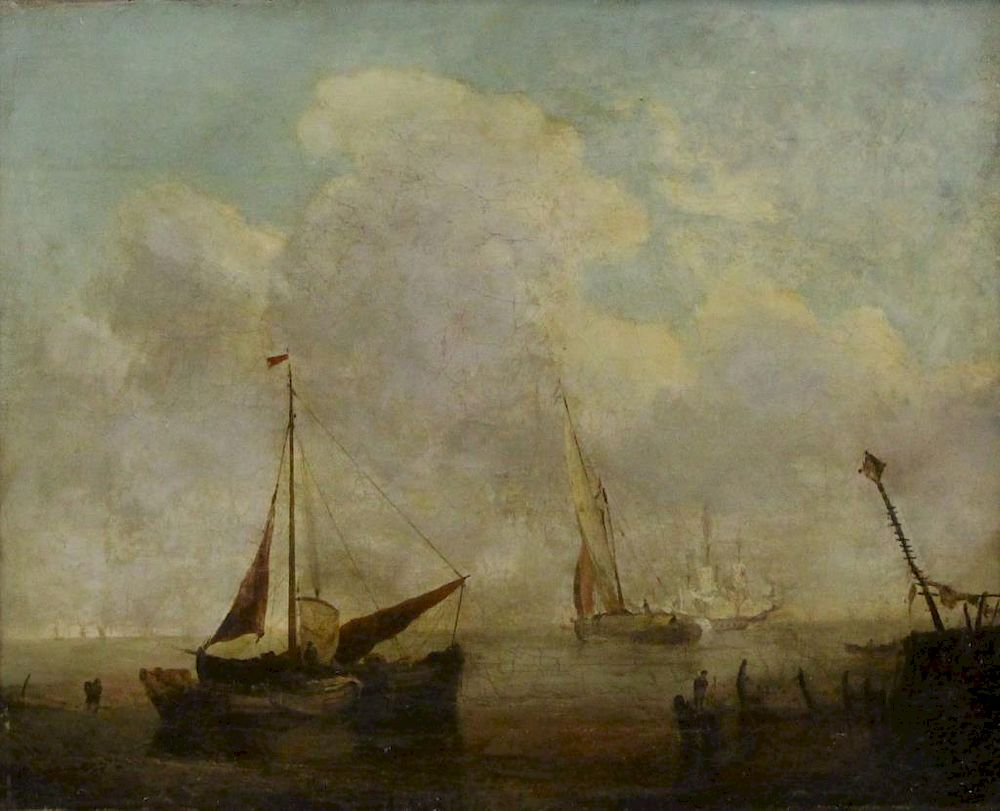 FLEMISH School, 19th Century  Oil on Canvas  Ships by Clarke