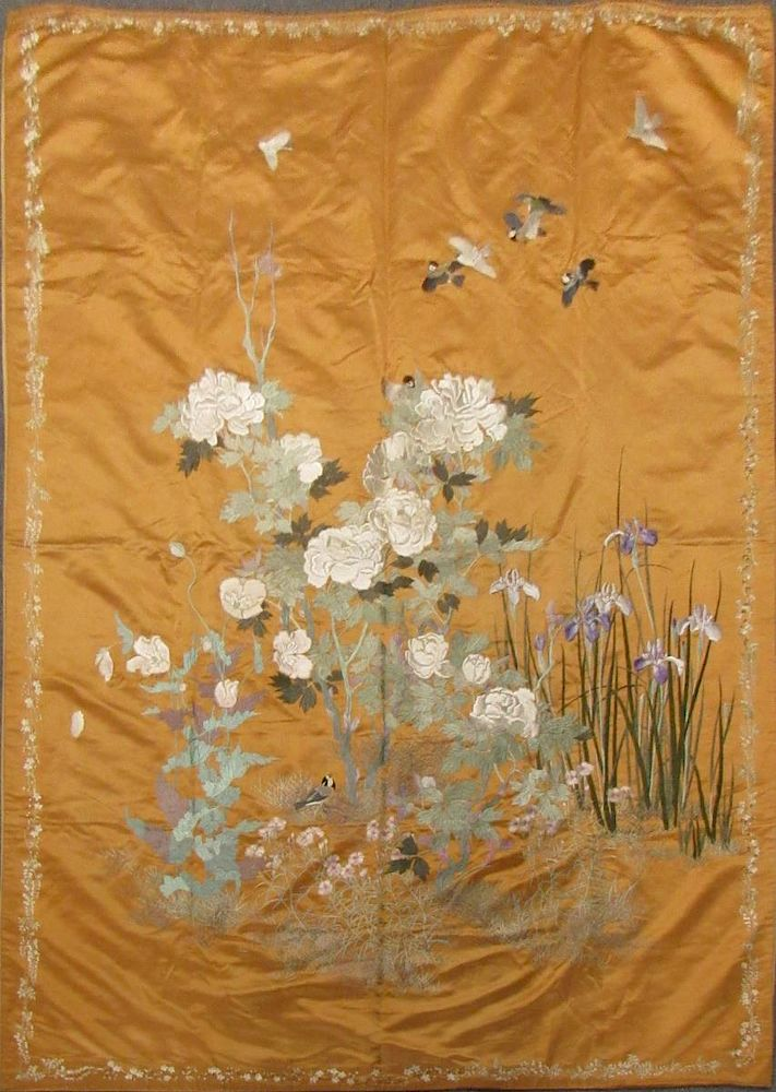 Large Japanese Silk Embroidery With Irises By Clarke Auction