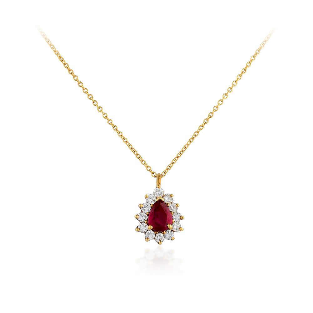 5e478df11a141 Tiffany & Co. 18K Gold Ruby and Diamond Pendant Necklace by Fortuna ...