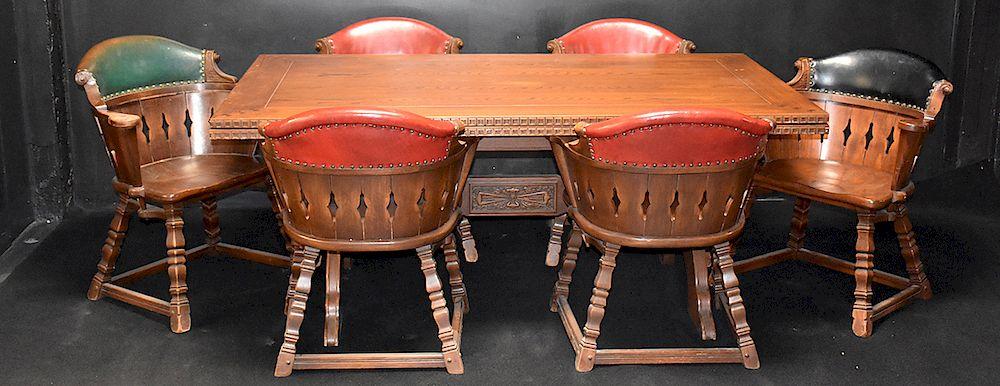 Magnificent 7 Pc Romweber Viking Oak Refractory Dining Set By Ross Machost Co Dining Chair Design Ideas Machostcouk
