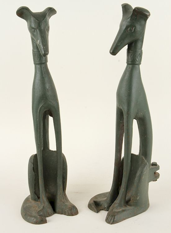 Pair Art Deco Painted Seated Dogs 1930 By Kamelot Auction