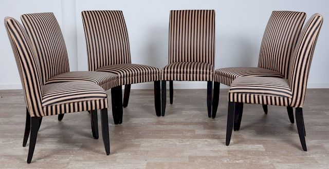 Groovy Tuxedo Stripe Dining Chairs Set Of Six 6 By Bremo Bralicious Painted Fabric Chair Ideas Braliciousco