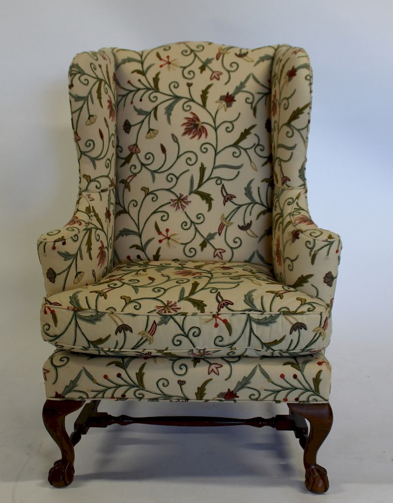Miraculous Baker Signed Upholstered Wingback Chair By Clarke Auction Ibusinesslaw Wood Chair Design Ideas Ibusinesslaworg