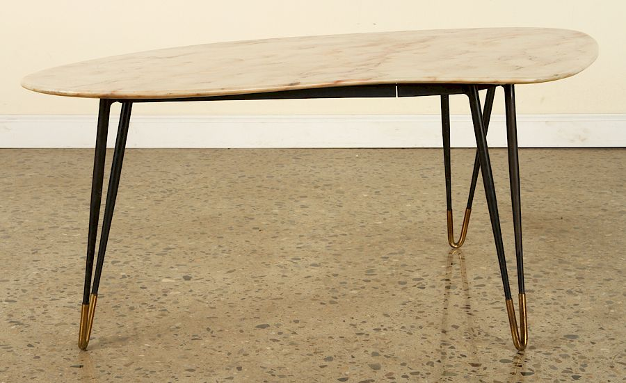 Mid Century Modern Iron Coffee Table Marble Top By Kamelot
